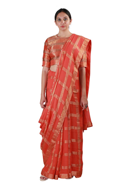 Orange Checks Saree