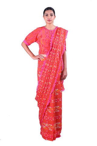 Orange Printed chiffon Saree