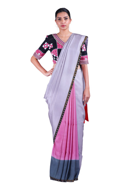 Grey  & Pink Saree