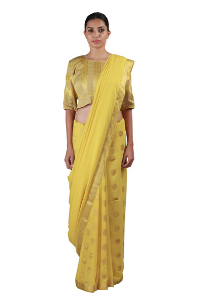 Yellow Polka Saree