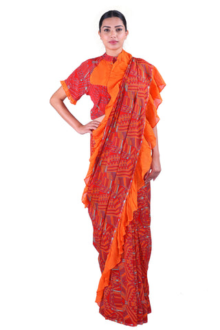 Red Printed chiffon Saree