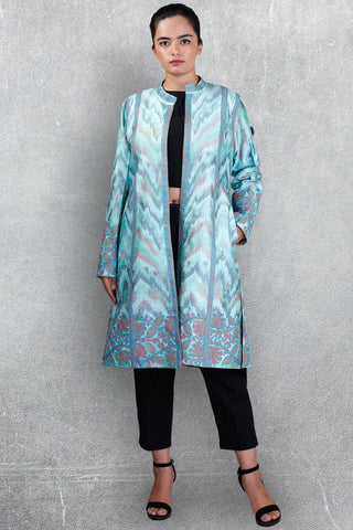 Blue Ikkat Raw Silk Jacket