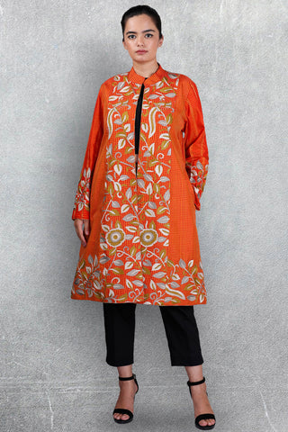 Orange Chettinad Silk Jacket