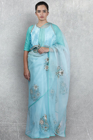 Sea Blue Organza Saree