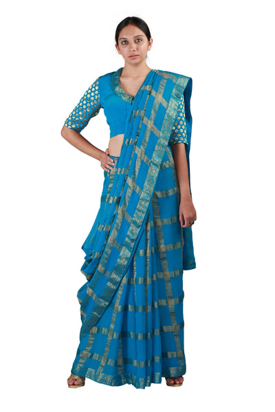 Blue Checks Saree