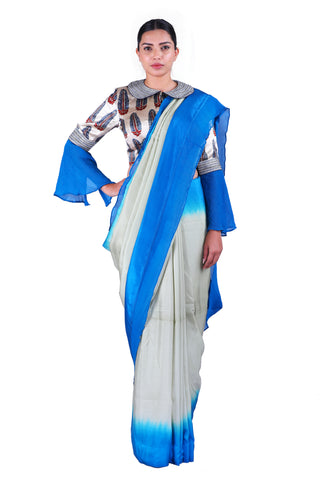 Grey & Blue silk Saree