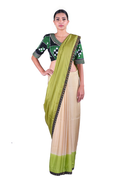 Green & Beige Saree