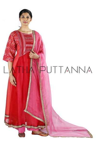 Red and pink salwar