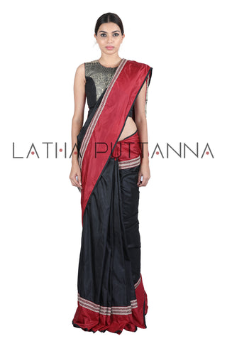 Black & Red  saree with woven horse pallu