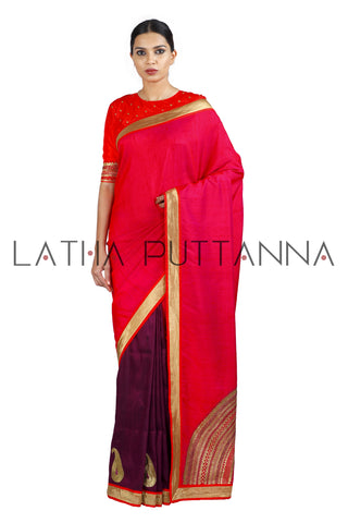 Chandrika - Two Colour Half and Half Silk Saree