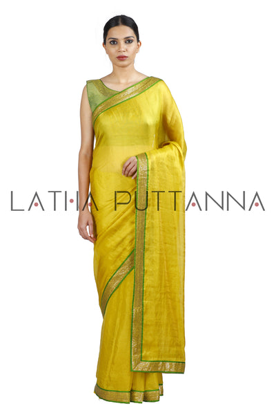 Neelambari - Yellow Tissue Saree with Chartreuse Border