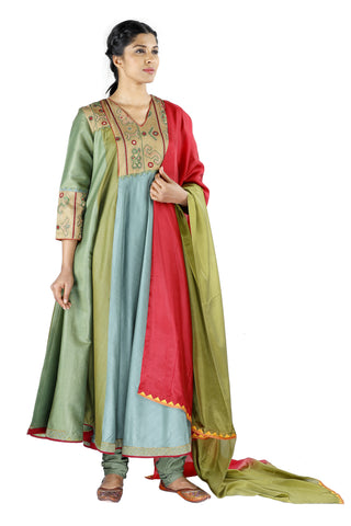 Green and Blue Silk Salwar