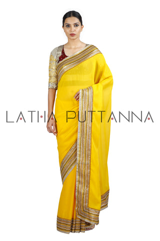 Sampige – Sunflower Yellow Georgette Saree