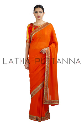 Jaji - Orange Saree with Multi-Coloured Blouse