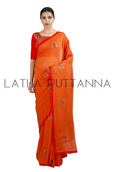 Kesari - Orange Saree with Mango Buttas