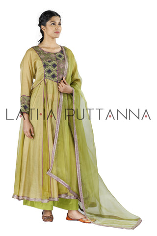 Beige and green salwar