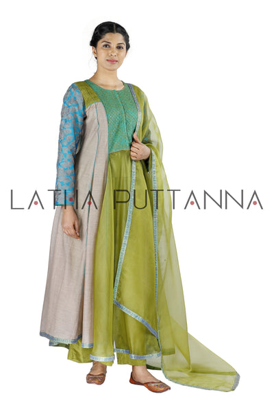 Green and grey  salwar