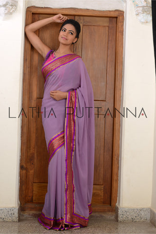 Jaji - Mauve Saree with Multi-Coloured Blouse
