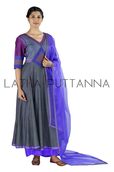 Grey and purple salwar