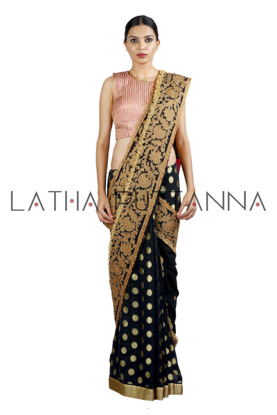 Shwetambri - Black Saree with Woven Buttas