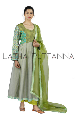 Grey and green Salwar