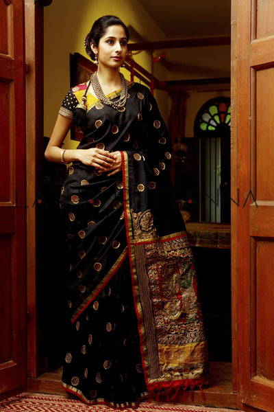 Chola – Heritage Black Raw Silk Saree