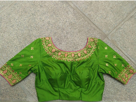 Leaf Green with Gold and Thread