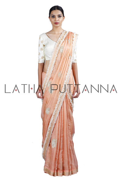 Apsara – Ethereal Peach Tissue with Gold Paisleys
