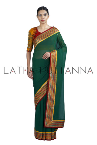 Sampige – Forest Green Georgette Saree