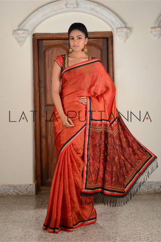 Shloka - Red Tissue Saree with Kalamkari Pallu