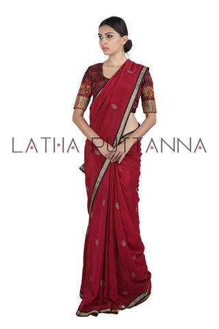 Shloka - Maroon Silk Saree with Kalamkari pallu