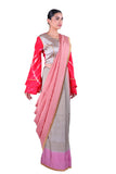 Grey & pink silk Saree