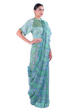 Sea Blue Printed chiffon Saree