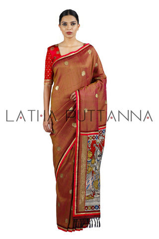 Chola – Heritage Rust Raw Silk Saree