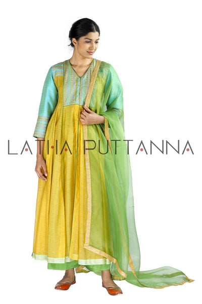 Golden yellow and green salwar