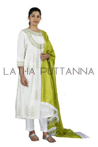 White Salwar with green embroidery
