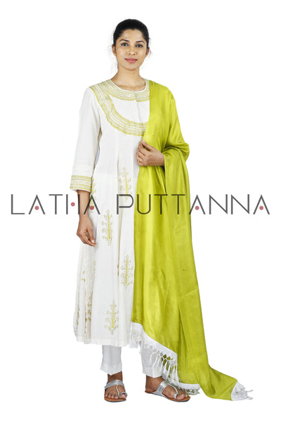 White Salwar with greenish yellow embroidery