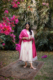 White Salwar with Pink embroidery