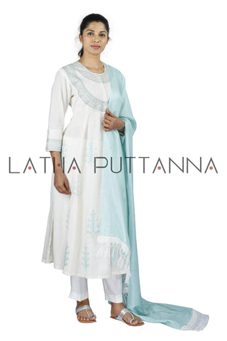 White Salwar with light blue embroidery
