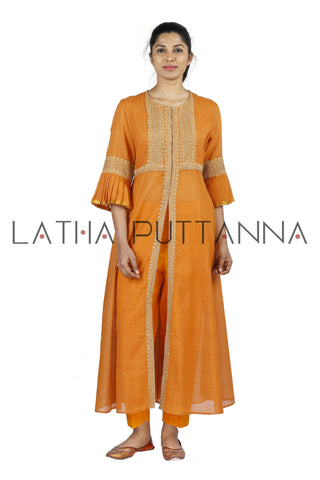 Orange Salwar with gold embroidery
