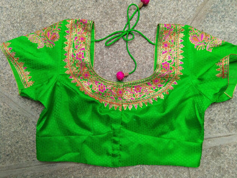 Bright Green with Gold and Thread