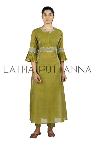 Mehendi Green Salwar with gold embroidery