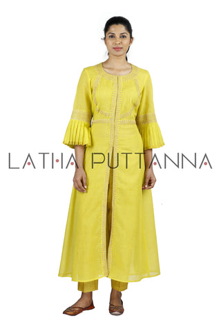 Yellow Salwar with gold embroidery