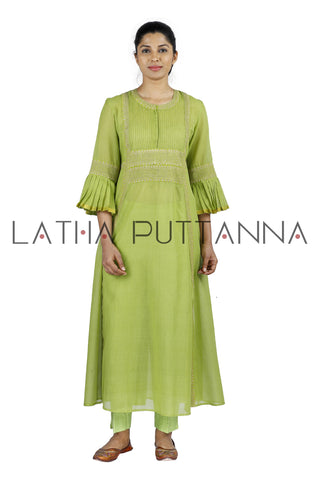 Green Salwar with gold embroidery