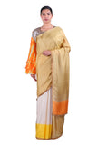 Beige & off-white silk Saree