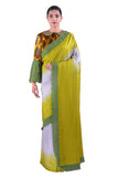 Grey & Green silk Saree