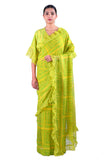 Lemon Yellow Printed chiffon Saree