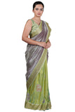 Grey - Green Organza and Raw Silk Saree