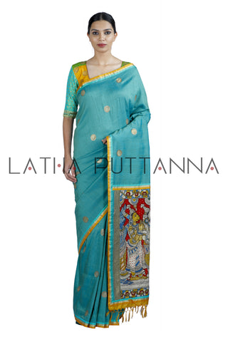 Chola – Heritage Teal Raw Silk Saree