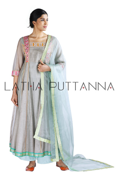 Silver grey and sky blue salwar